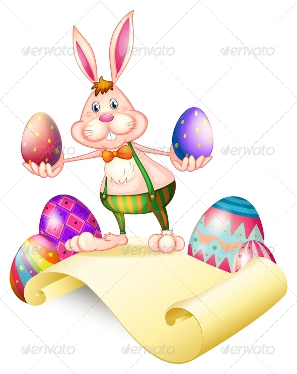 GraphicRiver Rabbit Holding Two Easter Eggs 7906742