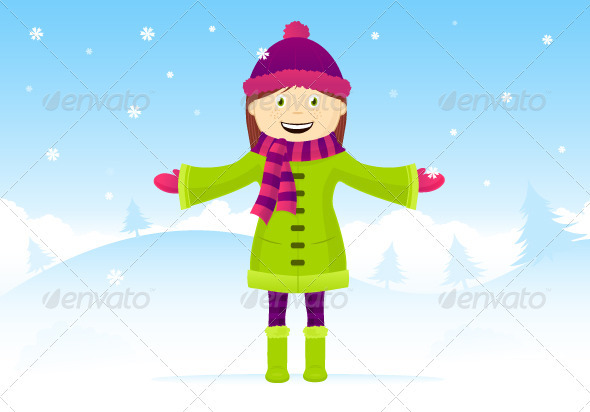 Graphic River Girl In Snow Vectors -  Conceptual  Seasons/Holidays 807739