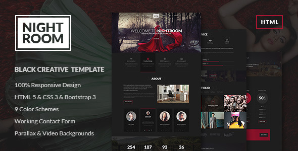 Night Room Creative Dark Template - Creative Site Templates