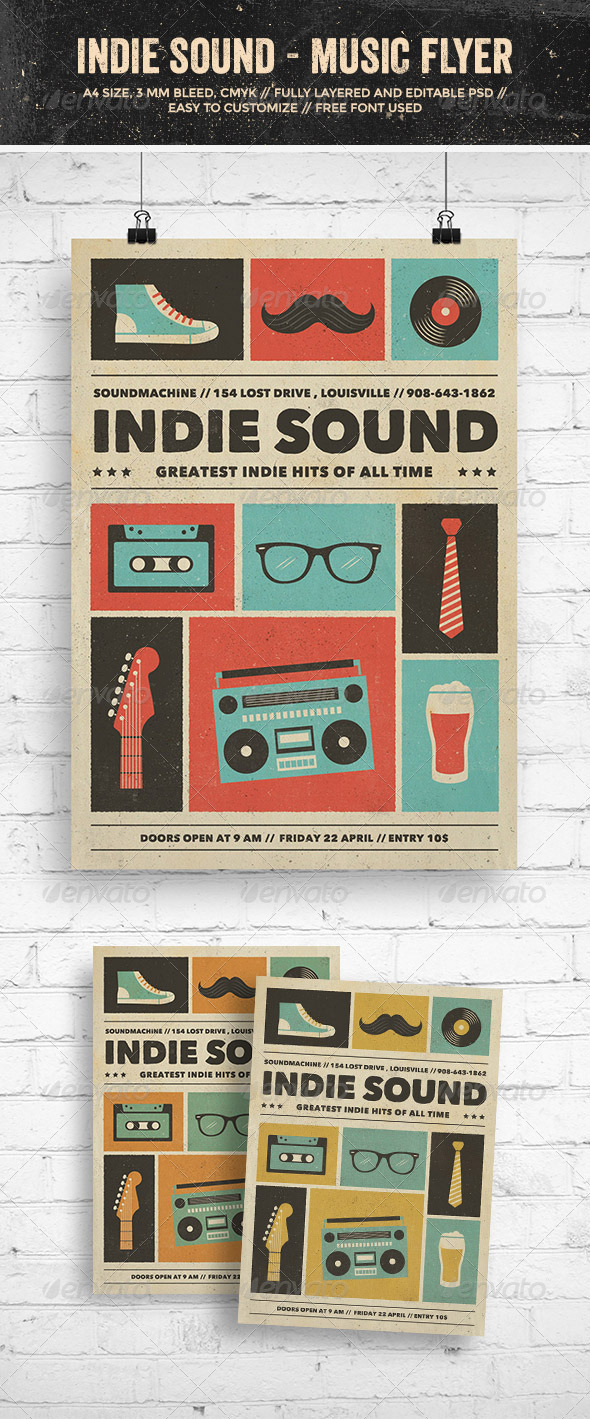 GraphicRiver Indie Sound Music Flyer Poster 7907219