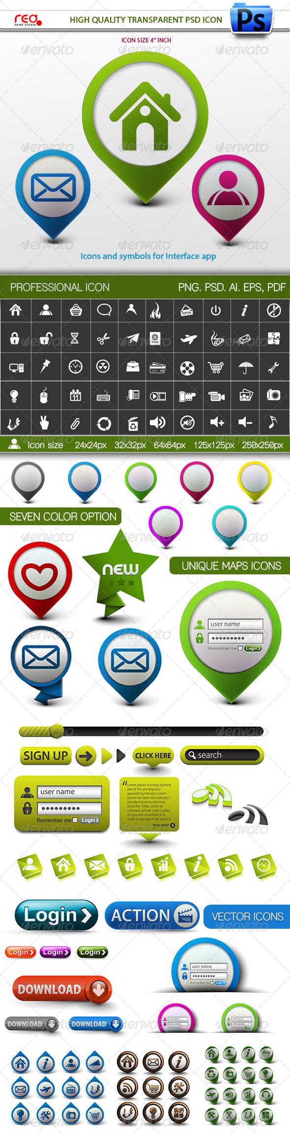 GraphicRiver Unique Maps Icons With Web Element 7907223