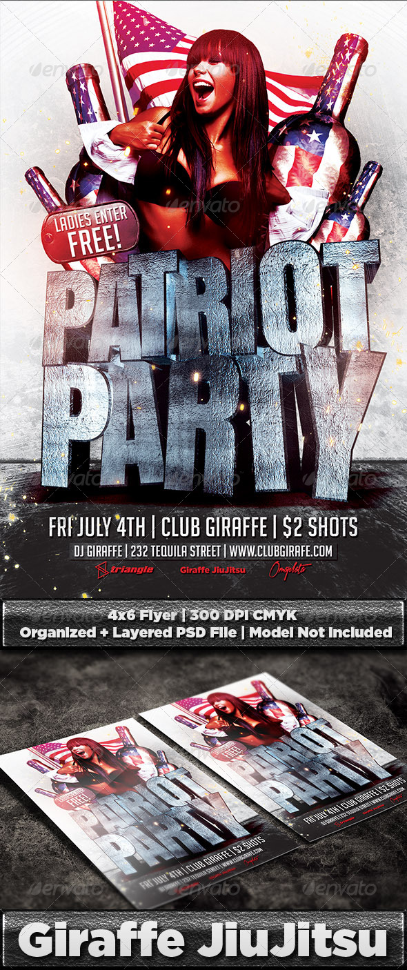 GraphicRiver Patriot Party Flyer Template PSD 7901595