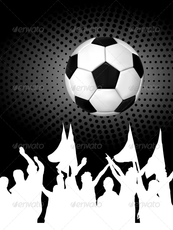 GraphicRiver Soccer Ball or Football with Silhouettes of Fans 7908063