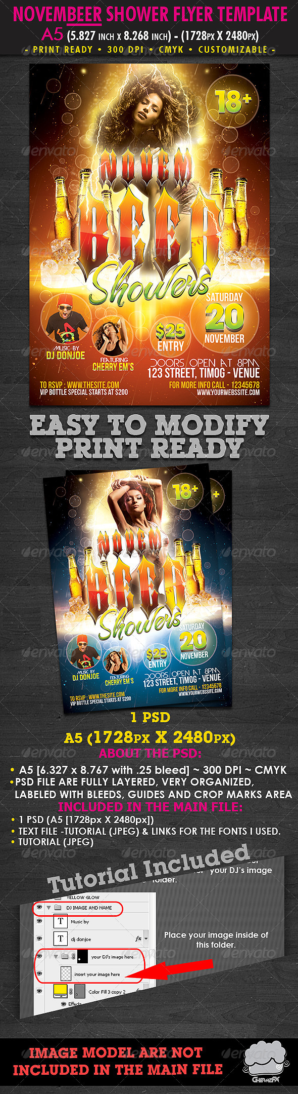 Graphic River Novembeer Showers Flyer Template Print Templates -  Flyers  Events  Clubs & Parties 781735