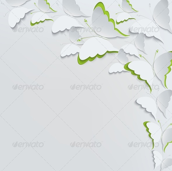 GraphicRiver White Butterflies on a White Background 7908605