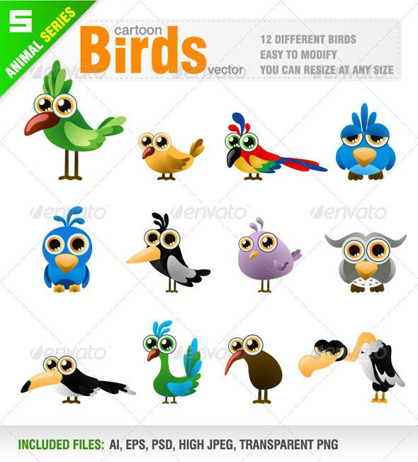 GraphicRiver Cartoon Bird Set 7908757