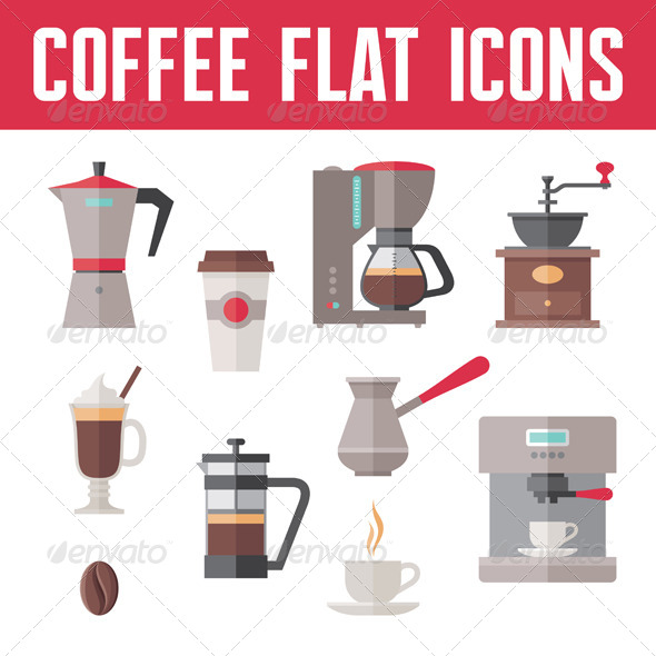 GraphicRiver Coffee Flat Icons Set 7908930