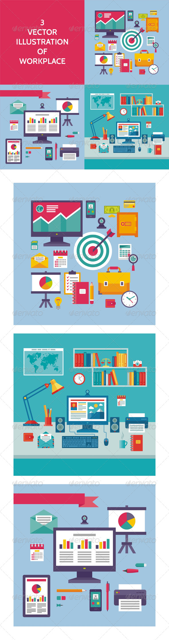 GraphicRiver 3 Illustrations of Workplace 7909038