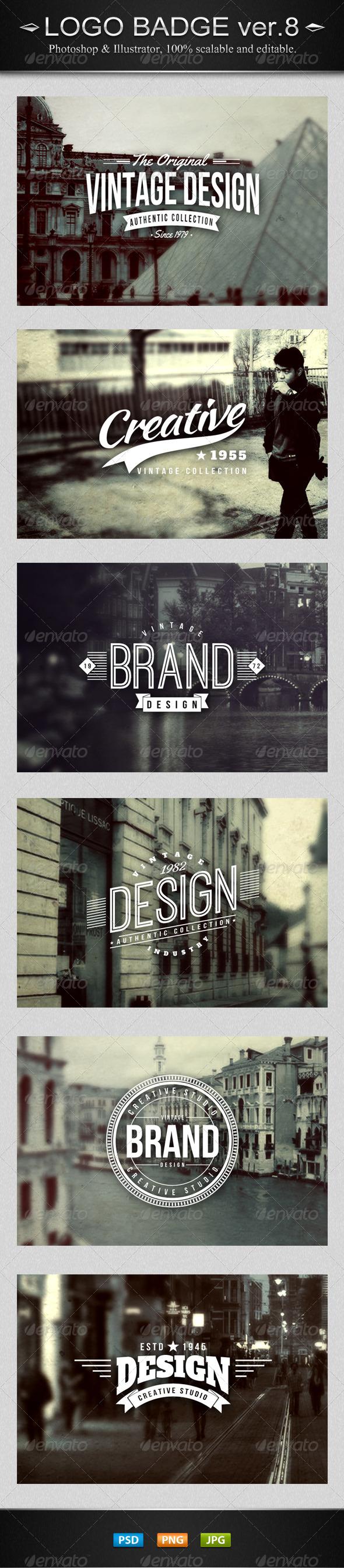 GraphicRiver 6 Vintage Logo Badges Ver.8 7894844