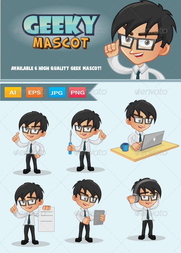 GraphicRiver Geek Mascot 7892095