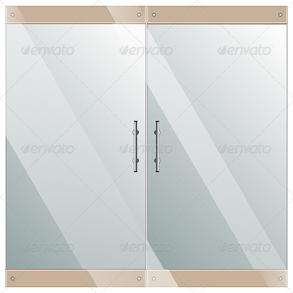 GraphicRiver Glass Door with Chrome Silver Handles 7909222