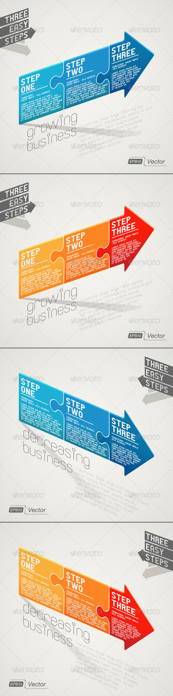 GraphicRiver Arrow Puzzle Increasing and Decreasing 7909569