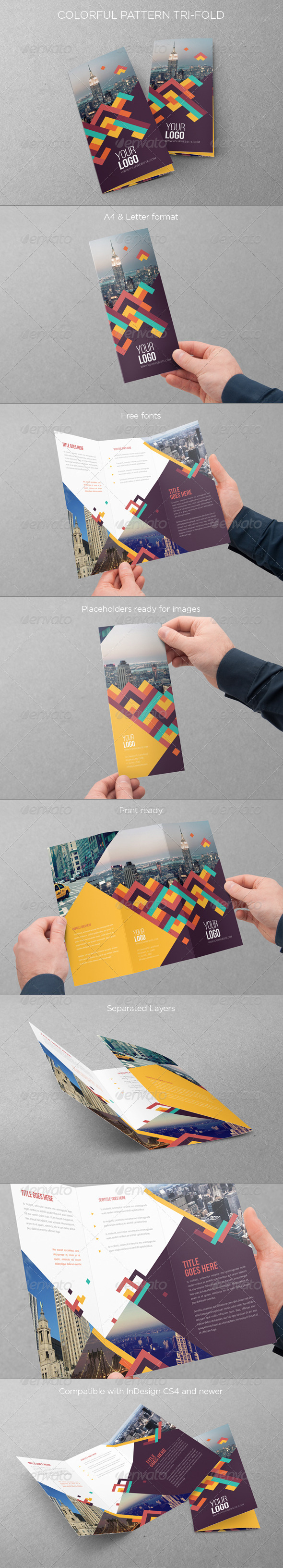 GraphicRiver Colorful Pattern Trifold 7909703
