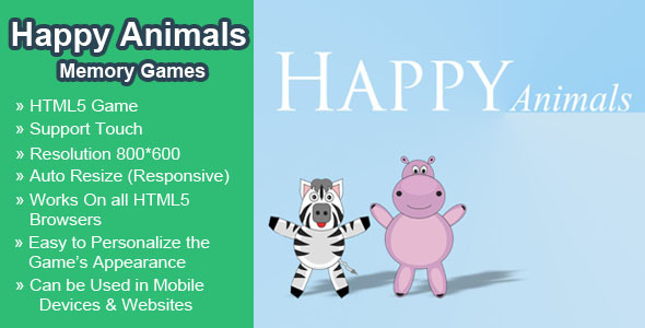 Happy Animals Memory Games HTML5 Learning Game