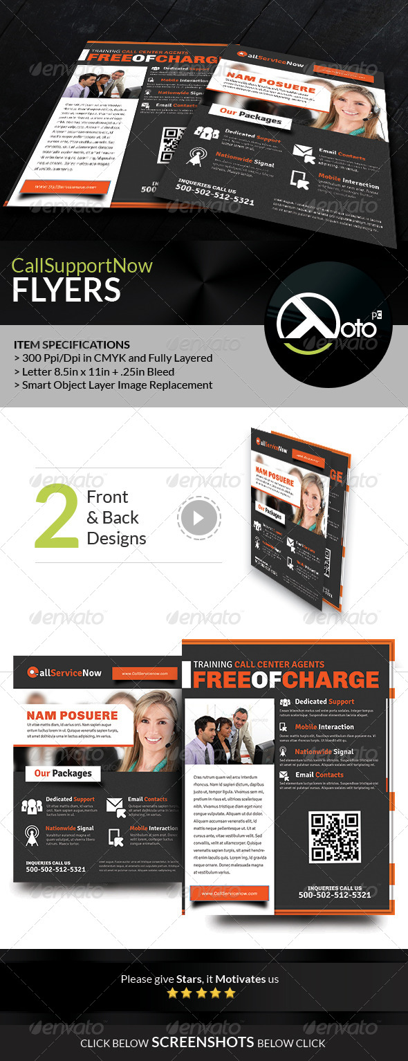 GraphicRiver Call Support Call Center Solutions Flyers 7909979