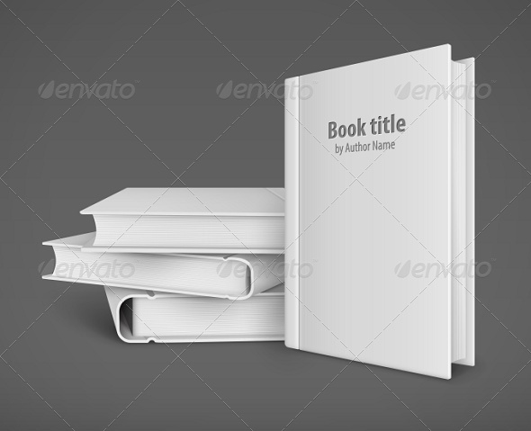 GraphicRiver Book Template with White Cover and Pile of Books 7910150