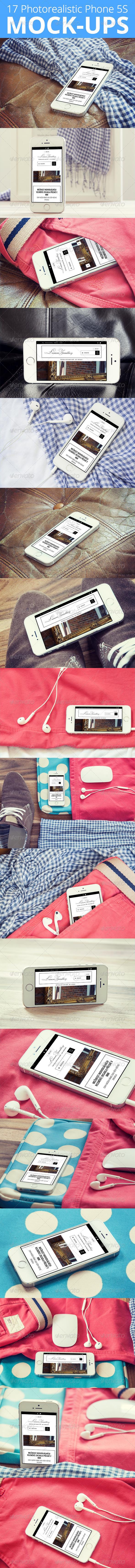 17 Photorealistic Phone 5S Mock-Ups Set