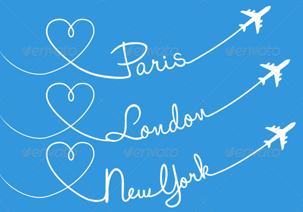 GraphicRiver Flying to Paris London or New York Set 7910391