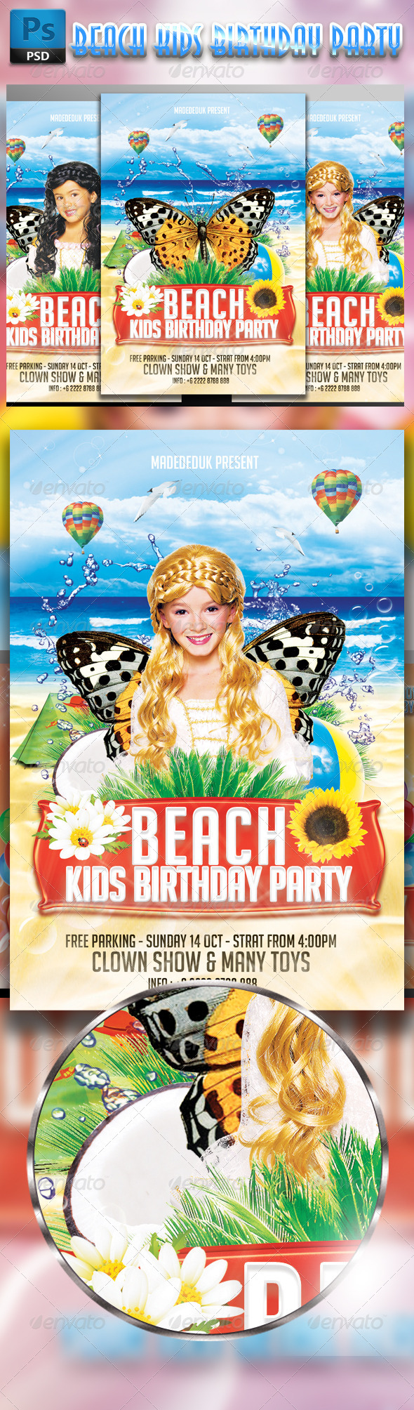 GraphicRiver Beach Kids Birthday Party Flyer 7910926
