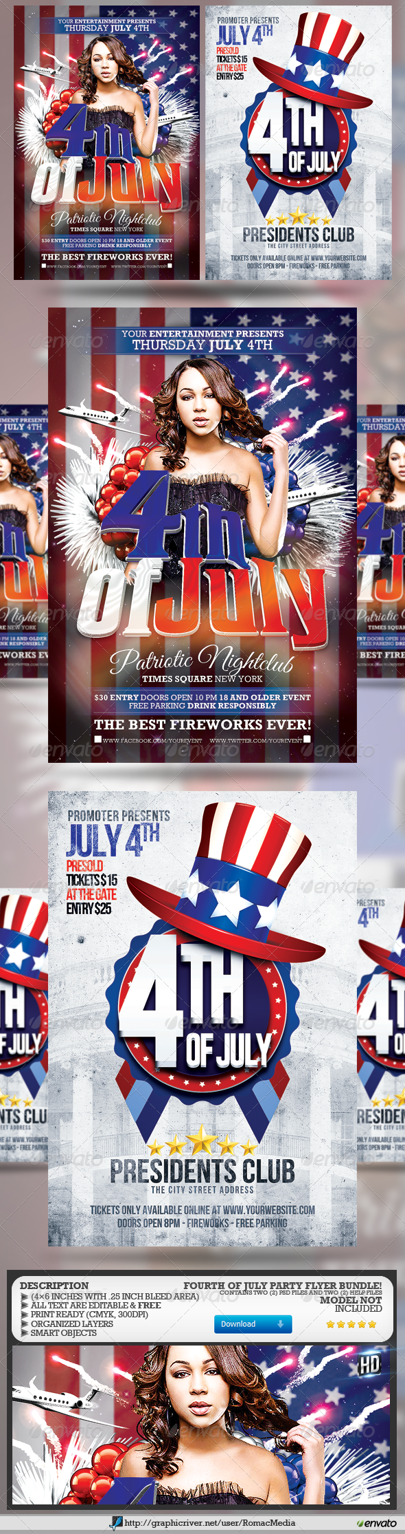 GraphicRiver Fourth of July Party Flyer Bundle 7911164