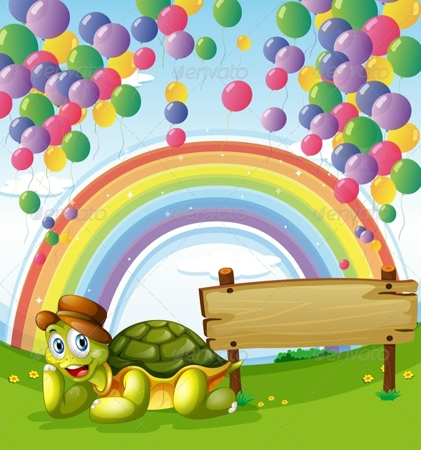 GraphicRiver Turtle Beside the Empty Board with a Rainbow 7911206