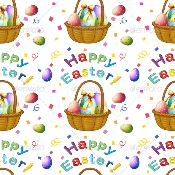 GraphicRiver Seamless Design with Easter Eggs in a Basket 7911260