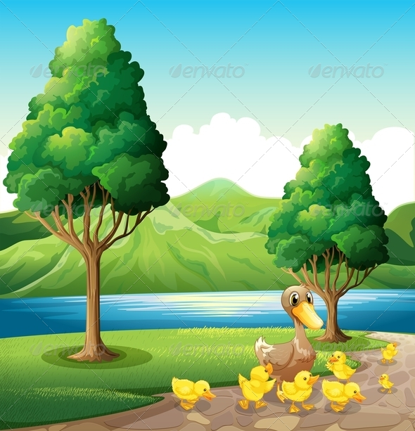 GraphicRiver Family of Duck at the Riverbank 7911270