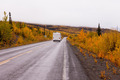 Campervan driving autumn fall highway Yukon Canada - PhotoDune Item for Sale
