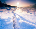 Sunny frozen Tagish Lake ice crack Yukon Canada - PhotoDune Item for Sale