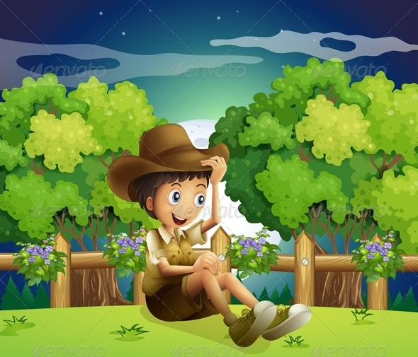 GraphicRiver Young Explorer on a Hill 7911291