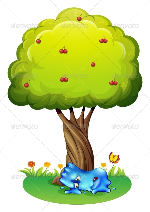 GraphicRiver Tired Monster Under a Tree 7911297