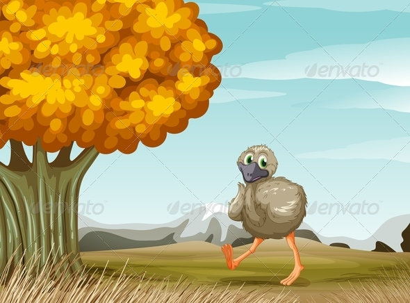 GraphicRiver Ostrich Near a Big Tree 7911303