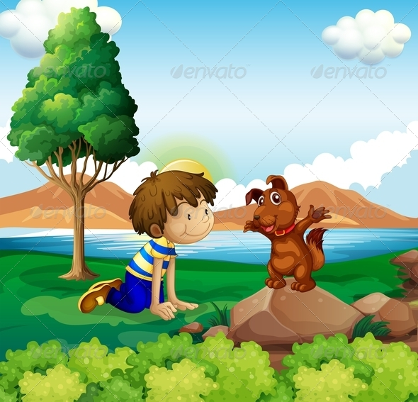 Young Boy and His Pet Near the Lake