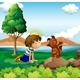 Young Boy and His Pet Near the Lake - GraphicRiver Item for Sale