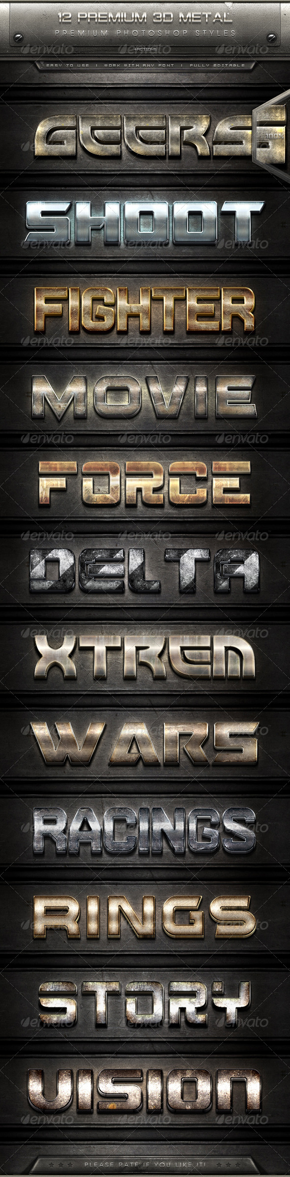GraphicRiver 12 Premium 3D Metal Text Effect Styles & Actions 7911489