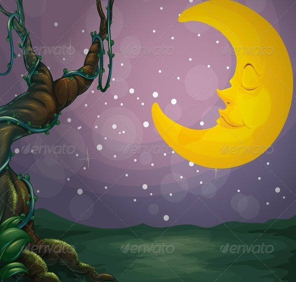 GraphicRiver Tree and Sleeping Moon 7911646