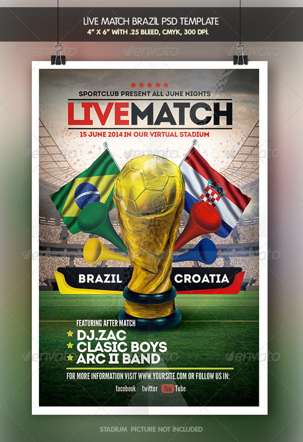 GraphicRiver Soccer Live Match Brazil 14 Flyer 7911652