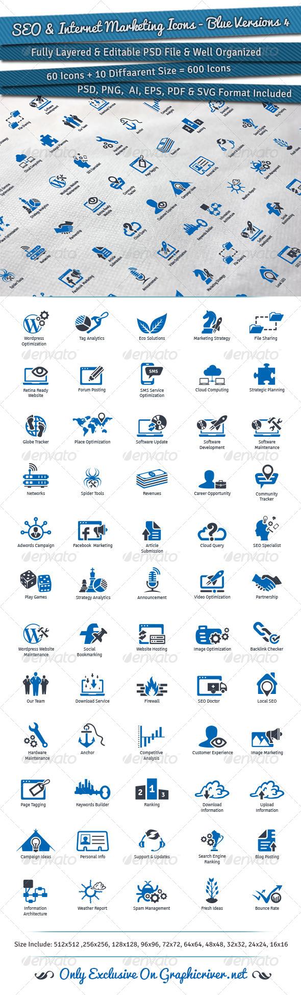 GraphicRiver SEO & Internet Marketing Icons Blue Versions 4 7911697