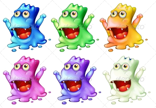 GraphicRiver Six Colorful Monsters 7911700