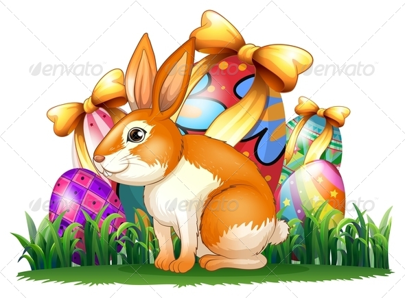 GraphicRiver Bunny in Front of Easter Eggs 7911715