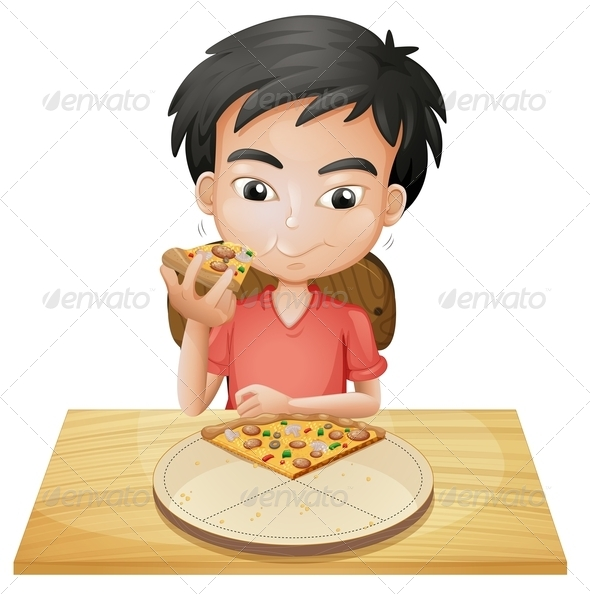 GraphicRiver Boy Eating Pizza 7911862