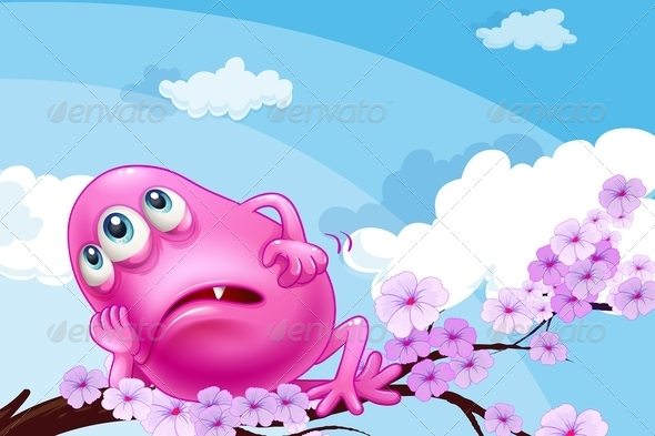 GraphicRiver A Pink Monster Resting on a Branch of a Tree 7912624