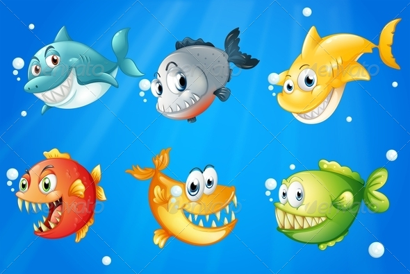 GraphicRiver Six Colorful Fishes Under the Deep Sea 7912668