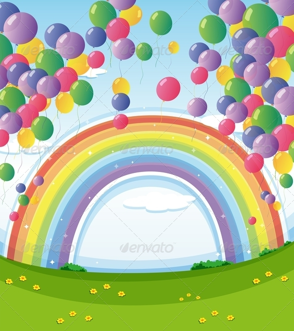 GraphicRiver Rainbow and Balloons 7912693