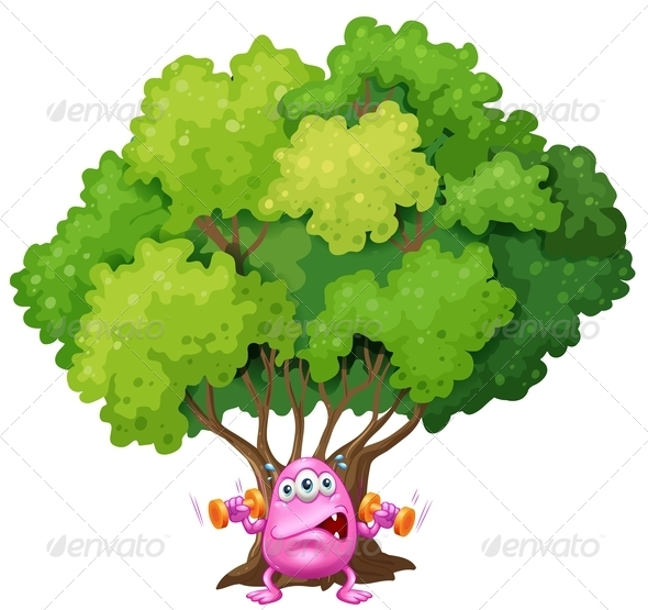 GraphicRiver Pink Monster Exercising Under a Tree 7912866