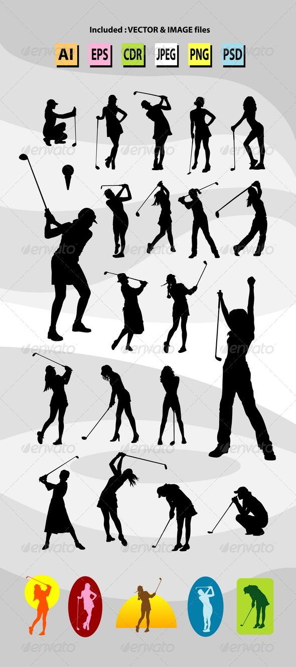 GraphicRiver Female Golfer Silhouettes 7912876