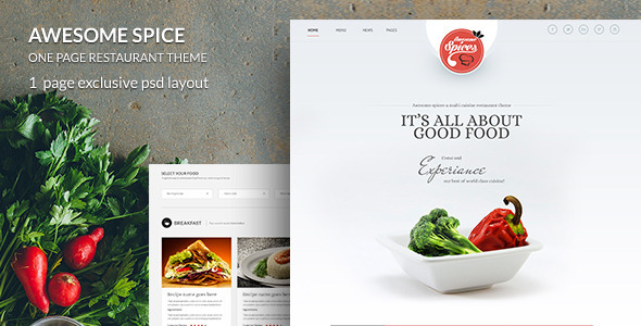 ThemeForest Awesome Spice-One Page Restaurant Theme 7873061