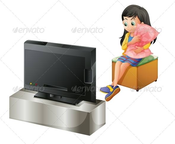 GraphicRiver Young Girl Hugging a Pillow While Watching TV 7912885