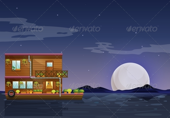 GraphicRiver A Boathouse Floating in the Middle of the Night 7912905