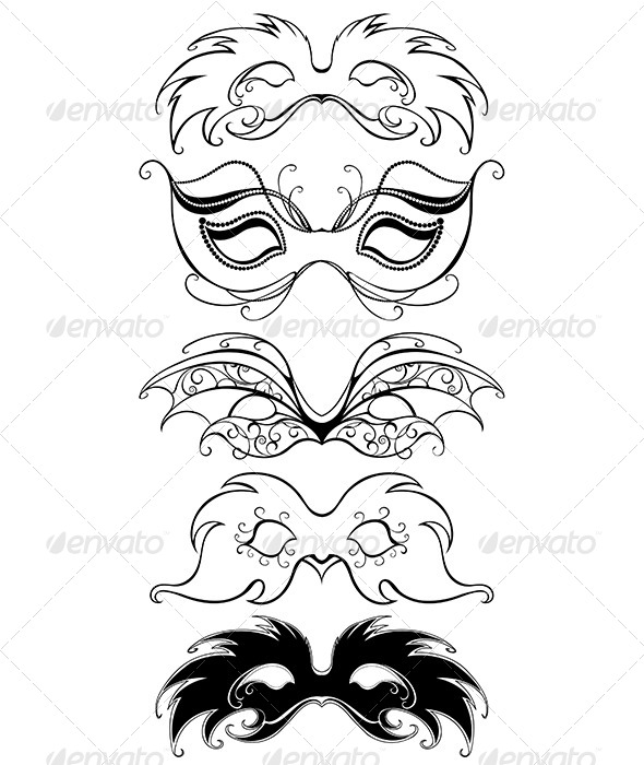 GraphicRiver Black Carnival Masks 7912906